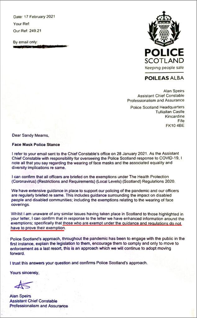 police scotland mask exmptions